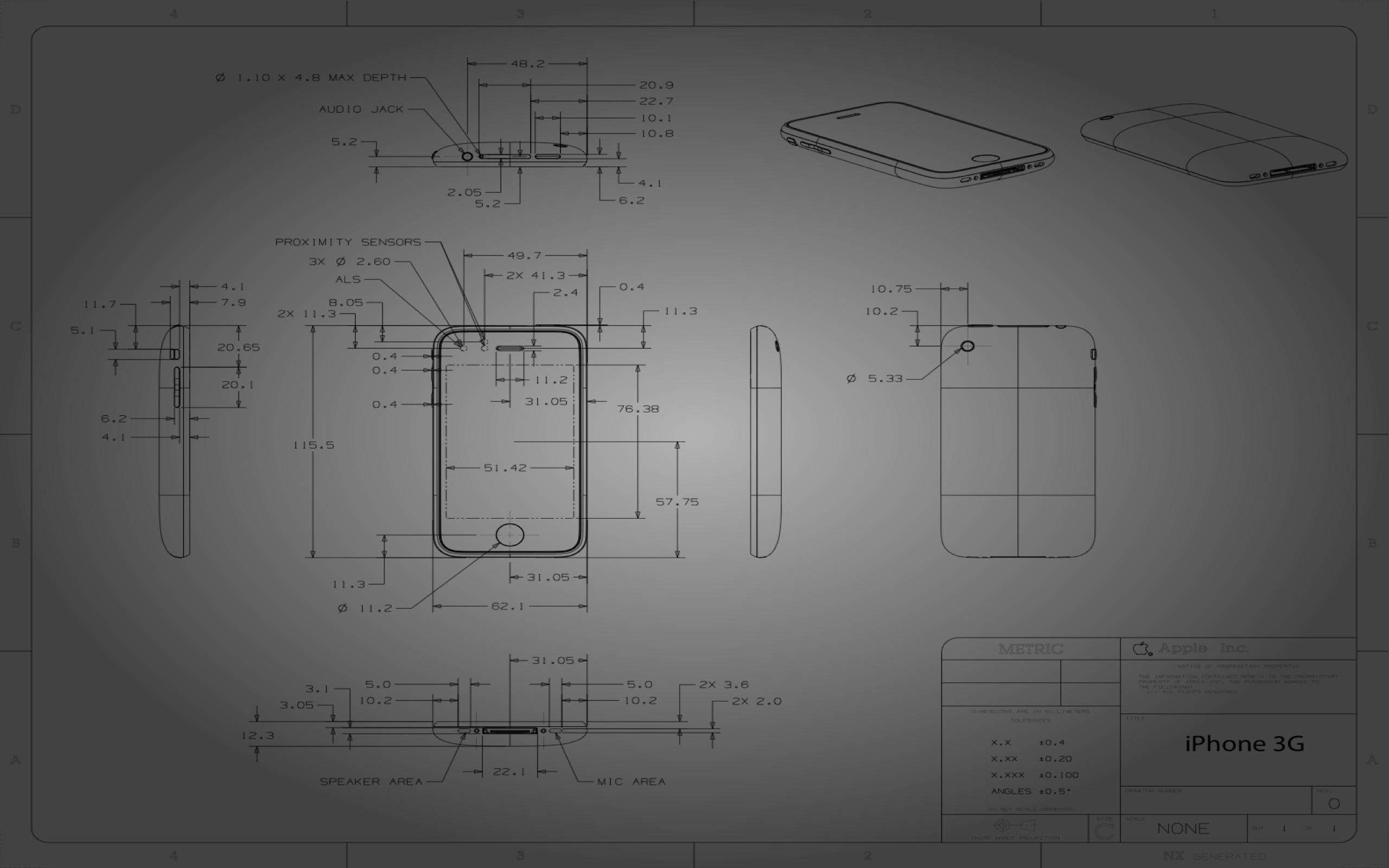 iPhone 3G blueprint wallpaper
